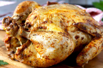 Whole Chicken Slow Cooked with Mushroom Gravy